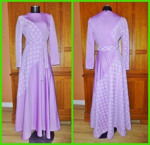 Vtg 70s Lavender Lace Jersey Knit Boho Evening Party Maxi belted Flarot DRESS