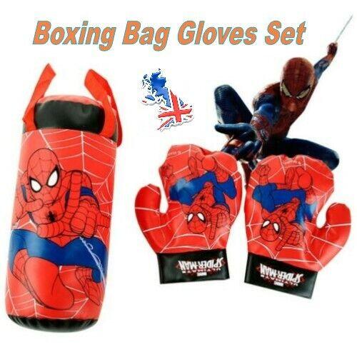 Kids Boxing Set Spiderman Gloves Punch Sandbag Children Exercise Hanging Bag Toy