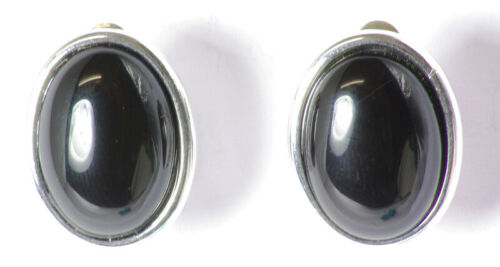 Made in UK Details about  /Josephine Oval Black Agate Silver Plate Clip On Earrings