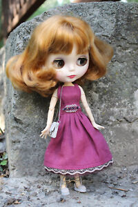 Blythe-doll-outfit-accesories-clothes-cherry-dress-bag-footwear