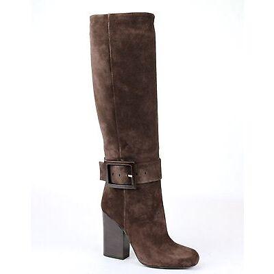 $1350 New Authentic GUCCI Kesha Suede Heel Boots w/Buckle Dark Brown 338692 2140