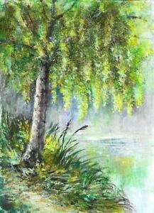 050 ACEO summer birch trees river landscape original painting art