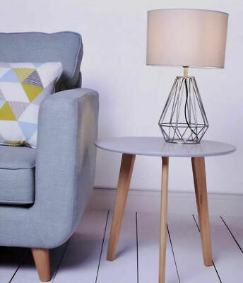 Contemporary Grey Round Side Table 47 cm Coffee Table End ...