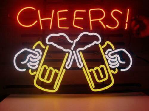 "17/""X14/""CHEERS Neon Sign Light Beer Bar Pub Wall Decor Handcraft Visual Artwork"