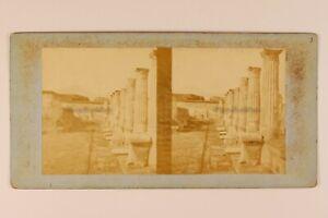 Italia Pompei c1865 Foto Stereo Vintage Albumina n5
