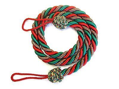 2 Cavo Di Natale Per Tende Fermatende Rosso E Verde Natale Ferma Tende Slinky Drape Cord-