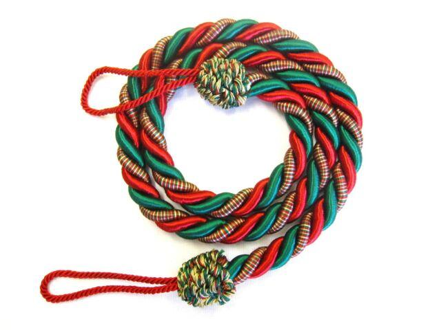 new concept 217bc df93a 2 Christmas Rope curtain tiebacks RED & GREEN xmas tie backs slinky cord  drape