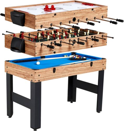 3-In-1 Kids Combo 4ft Foosball Air Hockey Billiard Pool Table Game Set Kit New