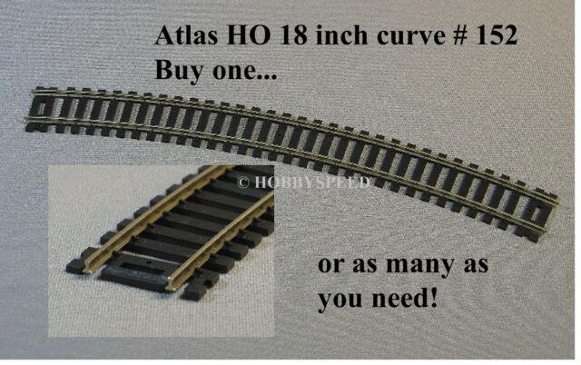 "Atlas 834 HO-Scale Code-100 HALF-18/"" Radius Curved Track 4 Nickel w// Black Tie"
