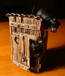 Cute Black Bear In Outhouse Holiday Lodge Christmas Log