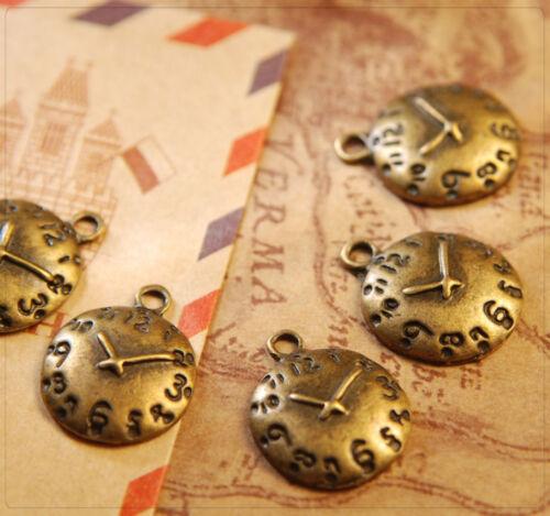 12x Pendente Charm in metallo gioielli DIY realizzerà Orologio Bronzo 14x17mm mb1398