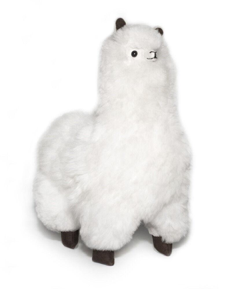 18 inches. Weiß Alpaca Plush. 100% Baby Alpaca Fur. Handmade.