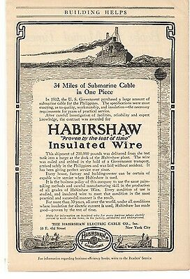 Merchandise & Memorabilia Collection Here 1916 Habirshaw Electric Cable Co 1910-19 Insulated Wire Advertisement