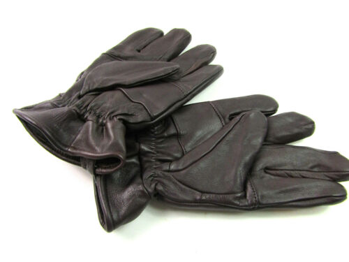 Mens Premium Super Soft Thinsulate Fleece Lined Brown Real Leather Gloves Winter