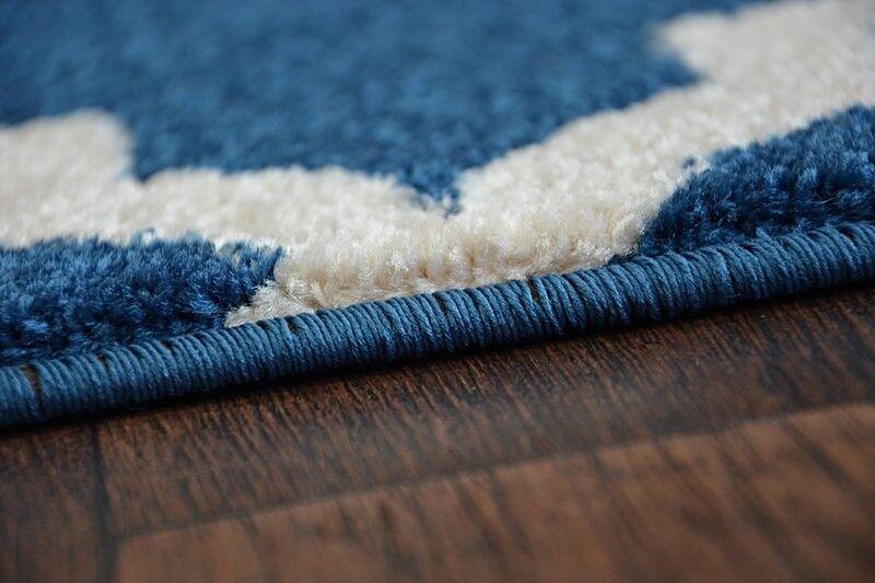 Amazing Épais Moderne Tapis Sketch Treillis Bleu Bleu Bleu Crème F343 grande taille Best-Tapis | Outlet Store  512453