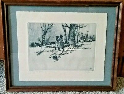 "Ed Gifford Pulled Blue Print ""Going To Grandmas"" Signed & Framed 11.5"" by 9.5"""