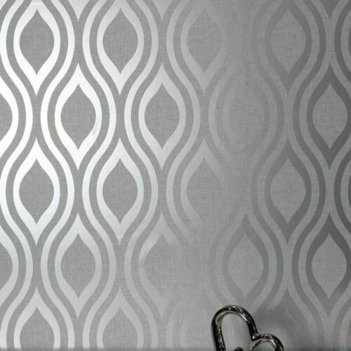 Arthouse Luxe Ogee Geo Wave Metallic Textured Vinyl Retro Wallpaper