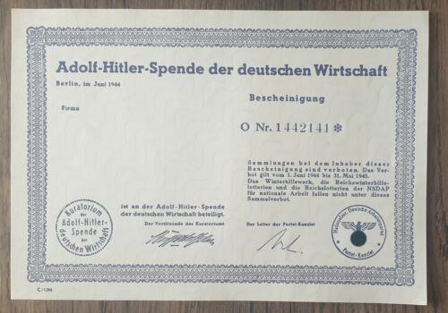 Wehrmacht 2wk Wk2 Adolf Hitler Spende der deutschen Wirtschaft N.S.D.A.P.