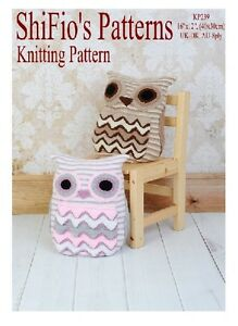KNITTING-PATTERN-for-OWL-CUSHION-COVER-PYJAMA-CASE-239-NOT-CLOTHES