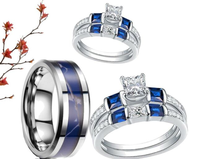 His And Her Tungsten Camo Sterling Silver Cz Blue Engagement Wedding Ring Set
