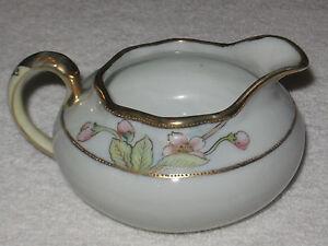 Antique-Vintage-Decorative-Nippon-China-Creamer-Pitcher-Red-Flowers-Gold-Trim