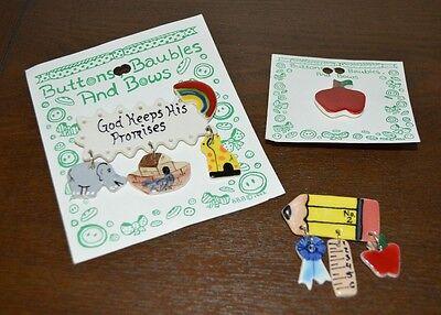 Novelty Pins jewelry Lot of 3 - apple, ruler, Noah's ark