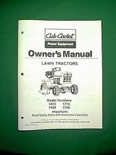 CUB CADET LAWN TRACTOR MODELS 1415 , 1430 , 1715 & 1720 OWNER'S MANUAL
