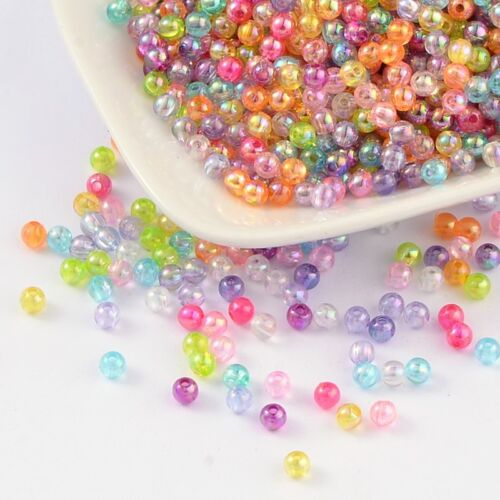 200 Acrylique Perles 4 mm multicolore transparent environ AB Farbend Acrylique Perles Mix 1624