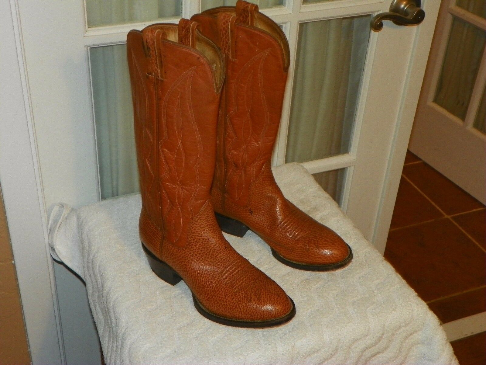 Men's Vintage Sanders by Panhandle Slim Brown Leather Cowboy Boots size 7.5 D
