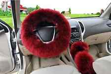 Wine Australian Wool Fuzzy Auto Car Steering Wheel Cover Universal For Winter
