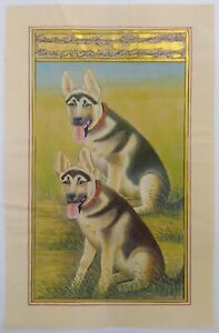 Hand-Painted-Dog-Animal-Miniature-Painting-India-Art-Nature-German-Shepherd-Rare