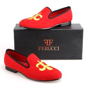 Handmade Men Red Velvet Slippers Flats Loafers With Gold Fleur de Lys