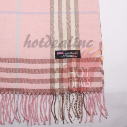 Women unisex 100/% CASHMERE Big Tartan Stripe Plaid Wool Baby Pink Wrap Scarf