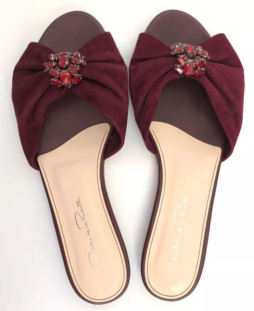 Oscar de la Renta Femmes Chaussures Taille 37 NEW IN BOX Flip Flop Bourgogne