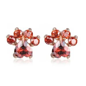 Cat-Claw-Natural-Fire-Red-Garnet-White-Topaz-Rose-Gold-Plated-Stud-Hook-Earrings
