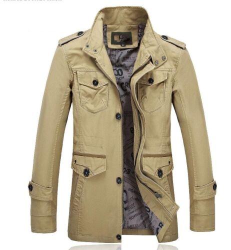 Homme Stand col Casual Formal Militaire Manteaux Coton Mi Long Vestes Parkas NW