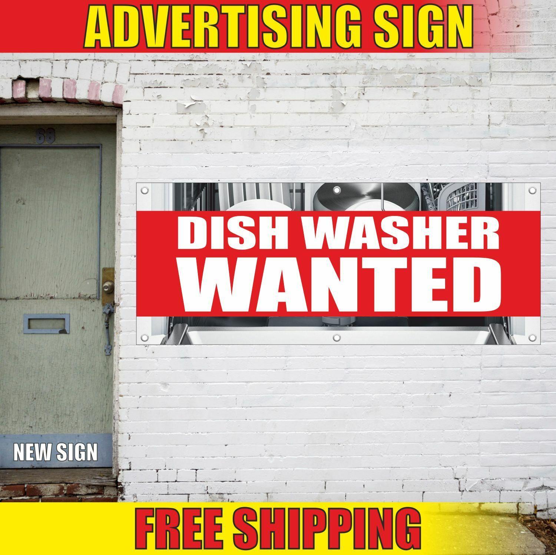 DISH WASHER WANTED Advertising Banner Vinyl Mesh Decal Sign FAIR JOB HIRING WORK 2