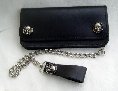 Biker Leder Geldbörse mit Skull Totenkopf  Bikerbörse Wallet mit Kette schwarz