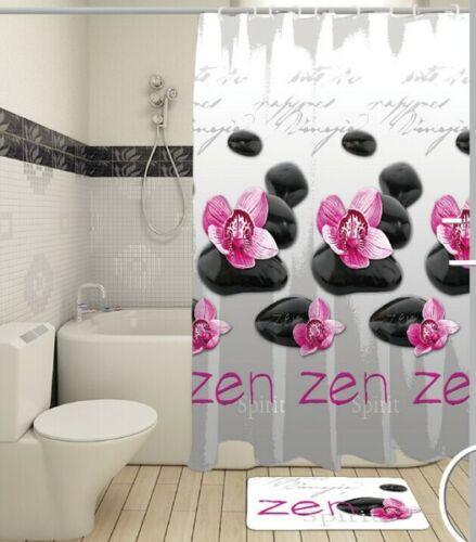 Textil Duschvorhang 180x180 cm Zen inkl Ringe Badevorhang Raumteiler Bad Dusche