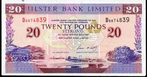 Ulster bank Ltd Belfast £20 twenty banknotes 2002 2004 2006 2007 2008 real money