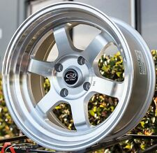ROTA GRID CLASSIC 16X8 +20 SILVER 4X100 FIT CIVIC SI CRX FIT MIATA WHEEL STANCE