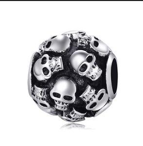 Skull-Charm-Bead-Black-Silver-Plated-European-Bracelets-Pandora