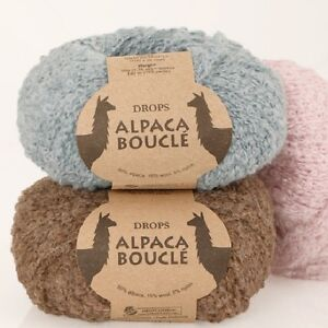 DROPS-ALPACA-BOUCLE-80-ALPACA-15-WOOL-CURLY-LOOPY-ARAN-KNITTING-YARN-50g