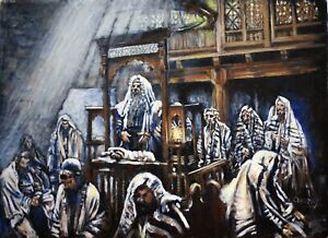 Original Oil Painting Jewish Art The Synagogue Impressionism Signed Canvas 18x24