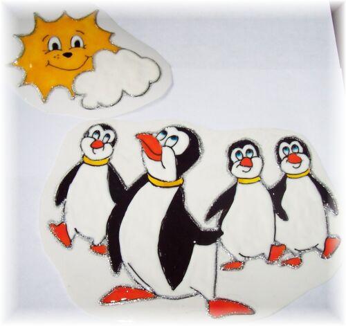 4 Lustige Pinguine unter heißer Sonne 2 Teilig Elas Fensterbilder