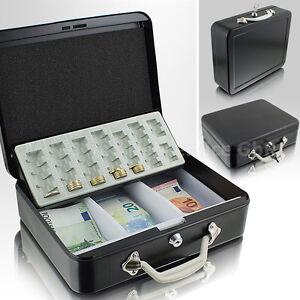 Geldkassette-30cm-gross-flach-abschliessbar-Geldkoffer-Transport-Zaehlbrett-schwarz