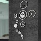 Hot 3D DIY Sticker Modern Home Decoration Silver Mirror Living Room Wall Clock