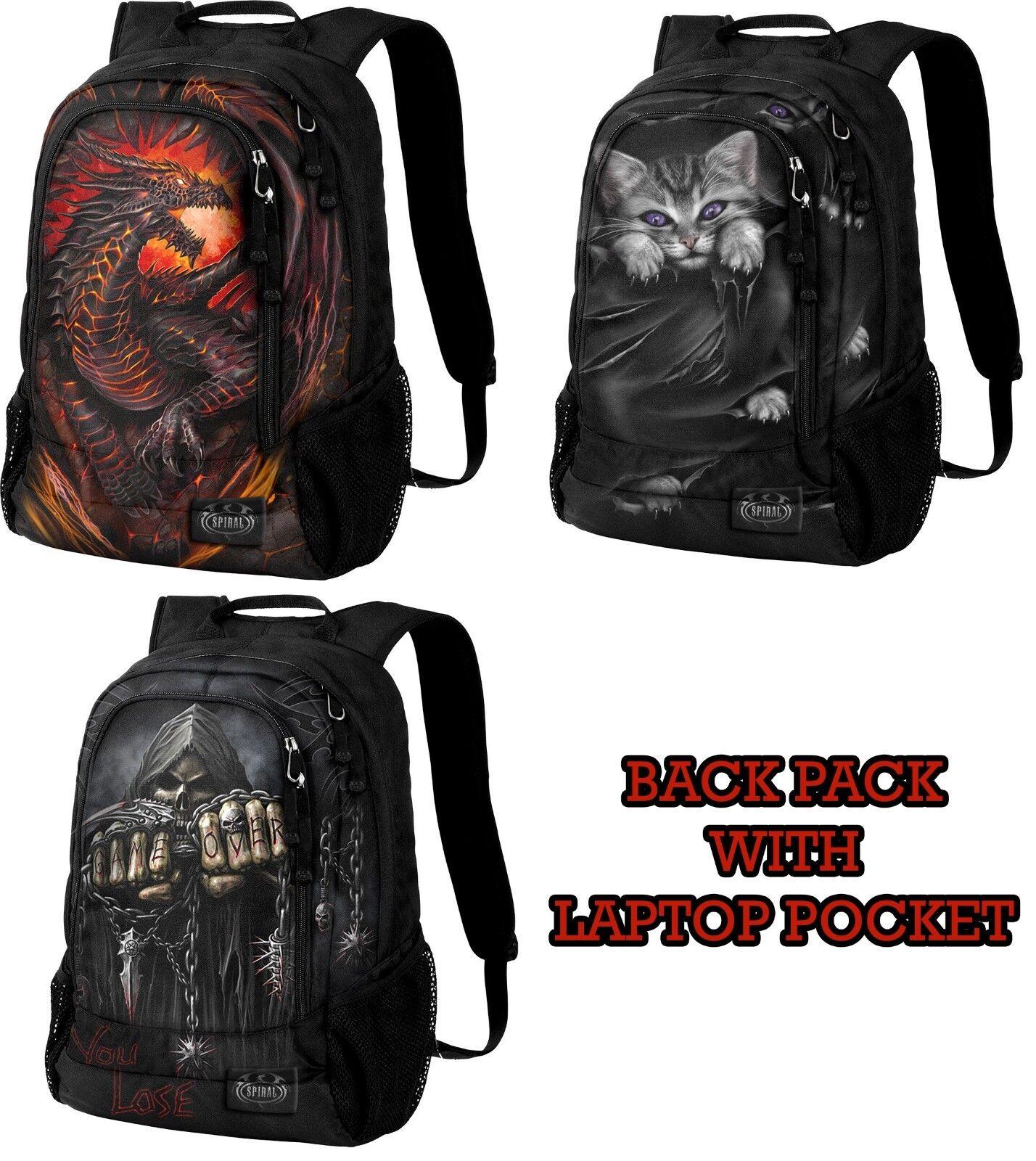 SPIRAL DIRECT BACK PACK WITH LAPTOP POCKET BAG/Unisex/Fire/Rock/Dragon/Cat/Game