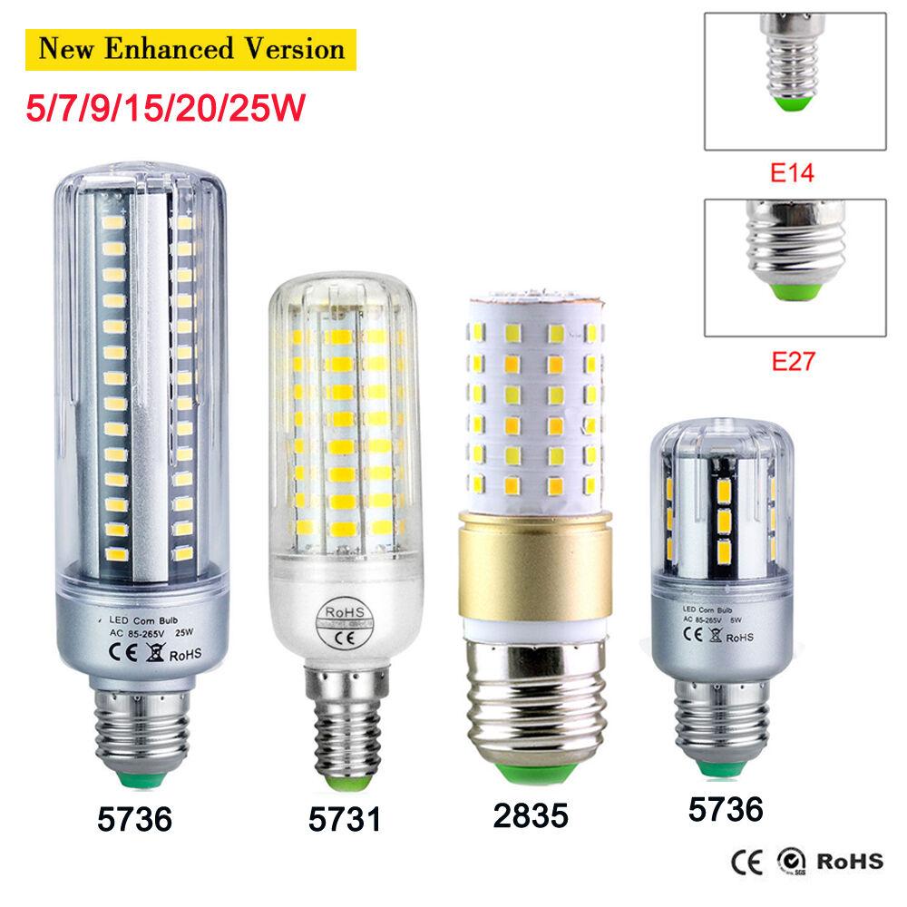 Bright E27 E14 5736 5730 2835 SMD LED Corn Bulb Lamp Light White AC 110V 220V