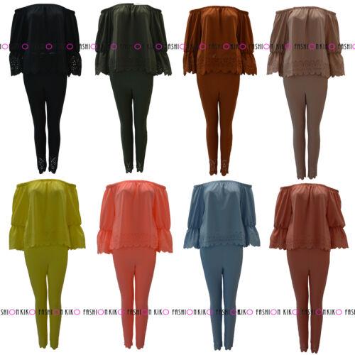 WOMENS  LASER CUT DRESS LADIES OFF THE SHOULDER BARDOT FRILL SUIT SET SIZES 8-14